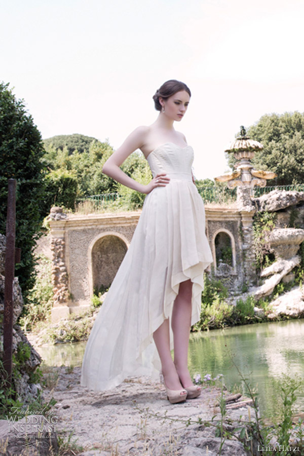 leila hafzi 2013 bridal maria short to long mullet weddng dress