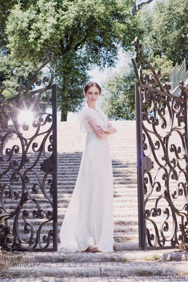 leila hafzi bridal 2013 frida wedding dress short sleeves empire waist