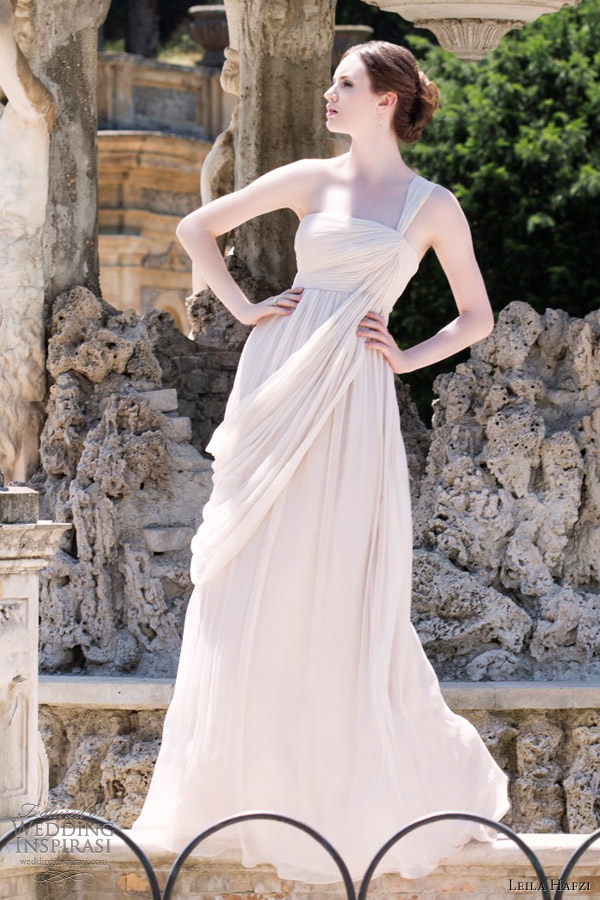 leila hafzi wedding dress 2013 aimee empire drape grecian bridal gown