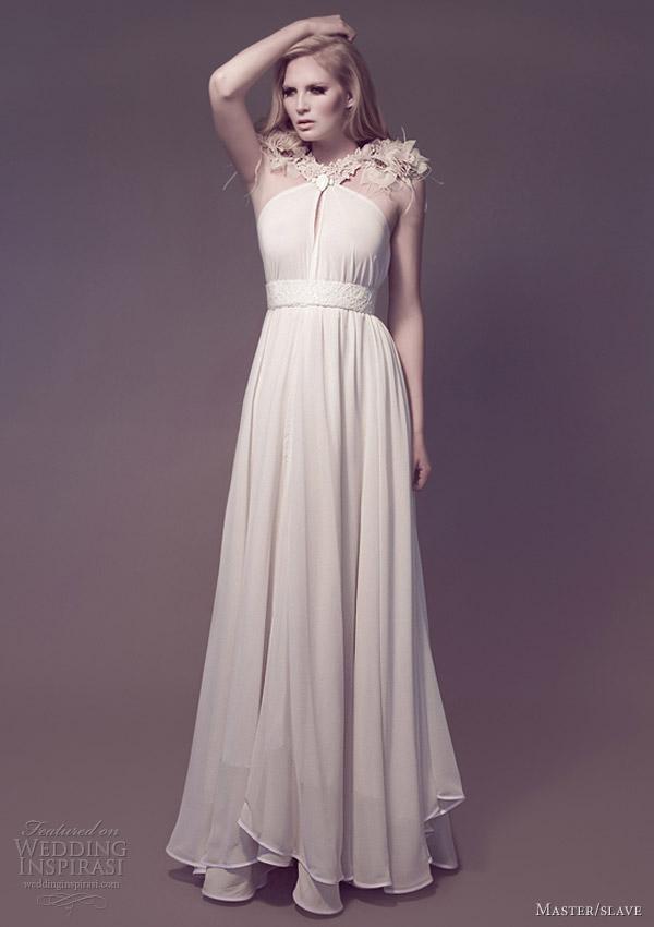 master slave wedding dress 2013 bridal flora epaulette draped gown