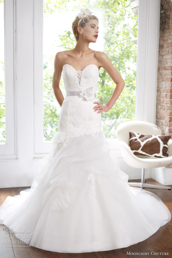 102c7b6fb46 moonlight couture spring 2013 strapless fit flare wedding dress h1217