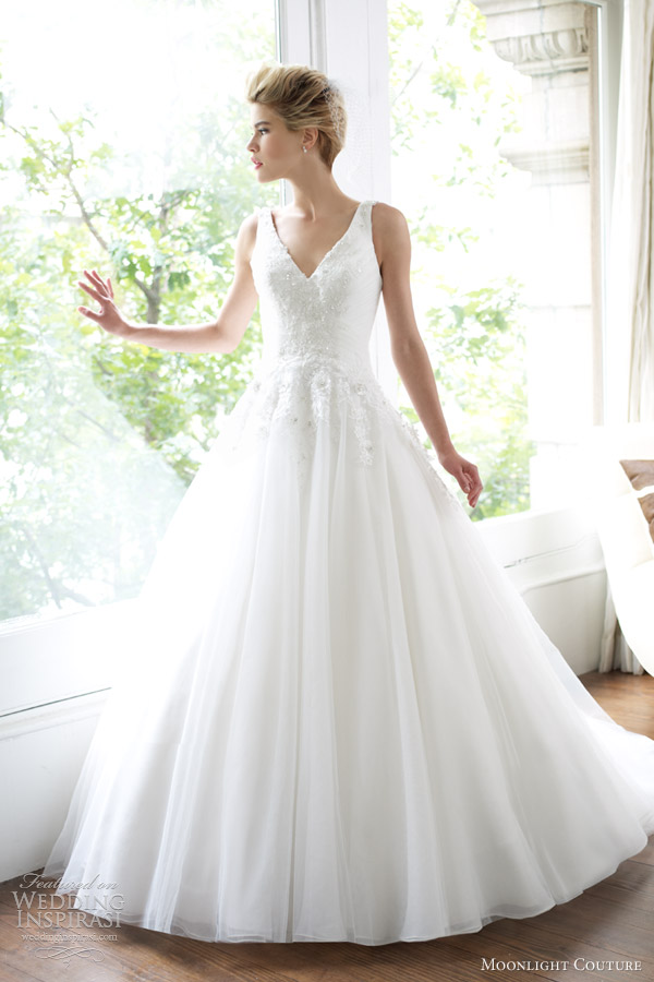 moonlight couture wedding dresses spring 2013 sleeveless ball gown h1213