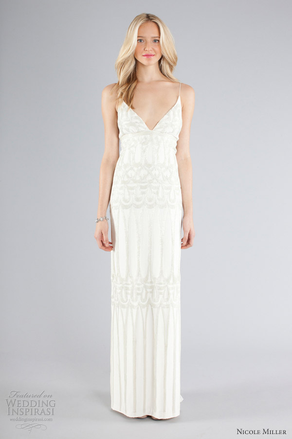 nicole miller bridal fall 2013 wedding dress spaghetti straps