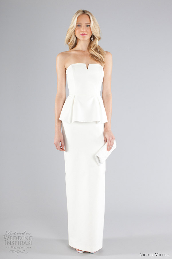 nicole miller fall 2013 bridal strapless peplum gown
