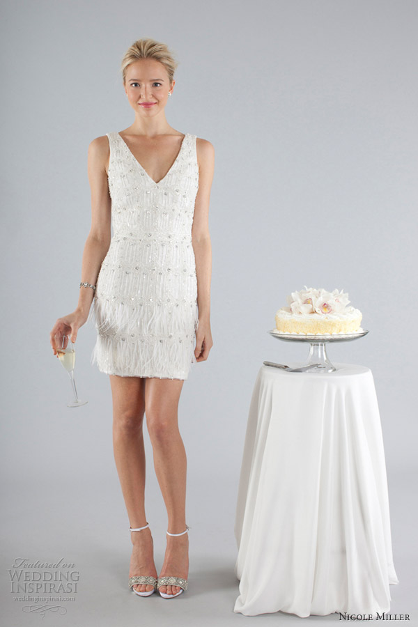 nicole miller short wedding dresses fall 2013 sleeveless fringe dress