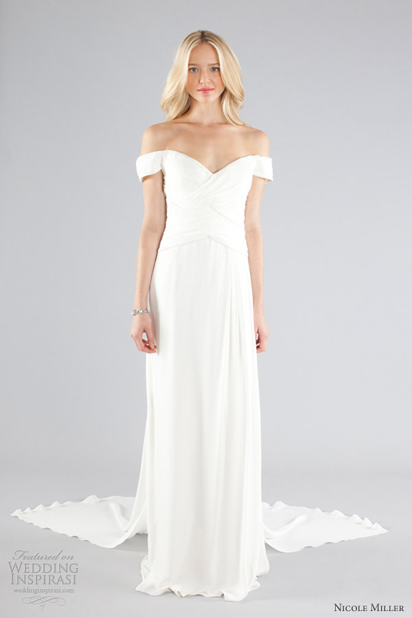 nicole miller wedding dresses fall 2013 bridal off the shoulder gown train
