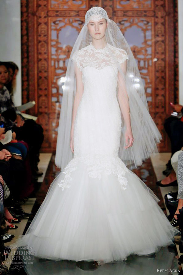 reem acra bridal fall 2013 mermaid lace wedding dress cap sleeves