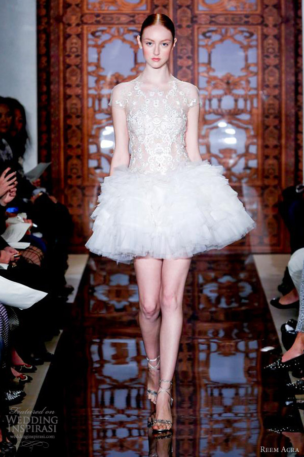 reem acra bridal fall 2013 short wedding dress illusion cap sleeves