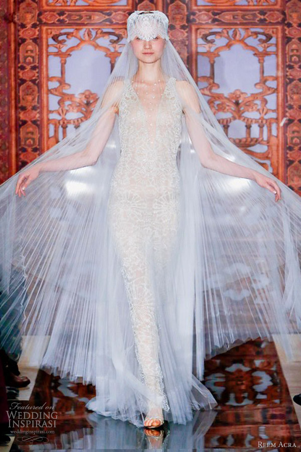 reem acra bridal fall 2013 wedding dress beaded sheath
