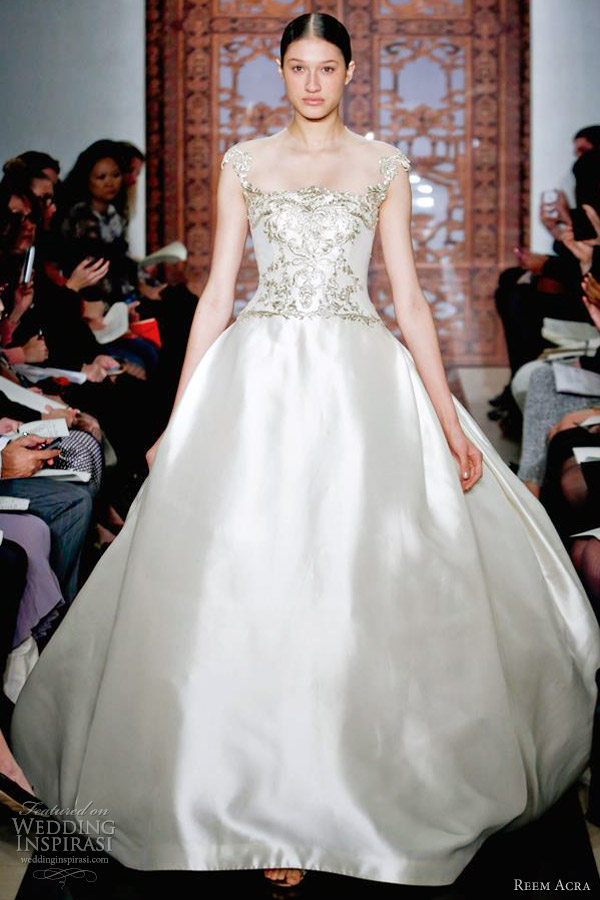 reem acra wedding dresses fall 2013 ball gown gold embroidery bodice