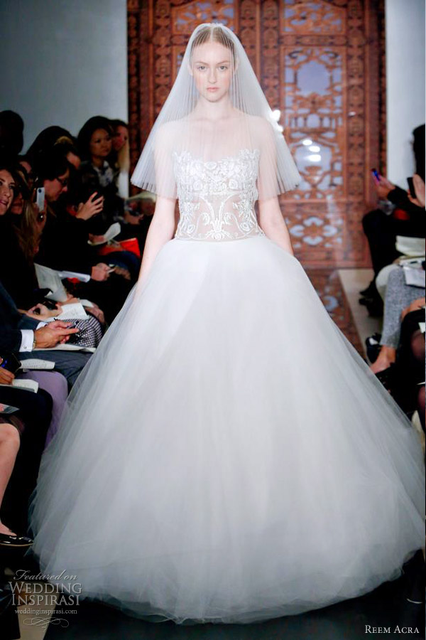 reem acra wedding dresses fall 2013 ball gown lace bodice