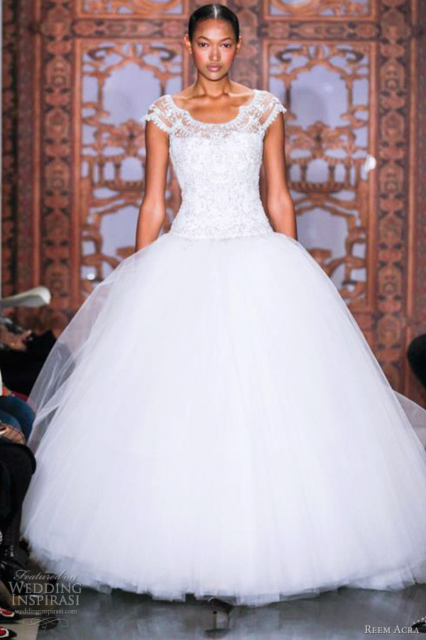 reem acra wedding dresses fall 2013 ball gown lace cap sleeves bodice
