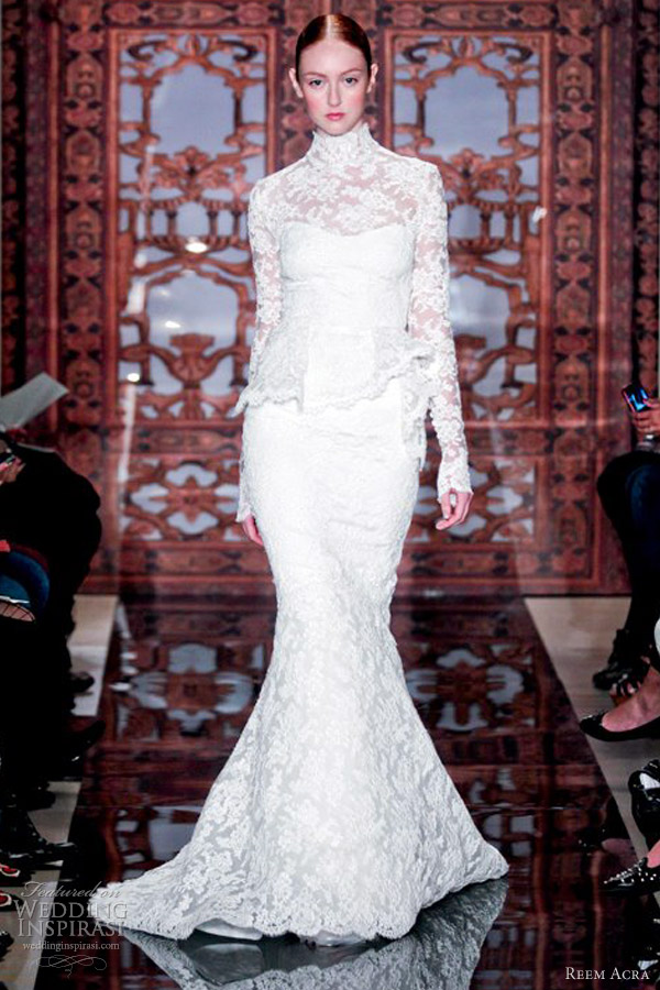 reem acra wedding dresses fall 2013 long sleeve high neck