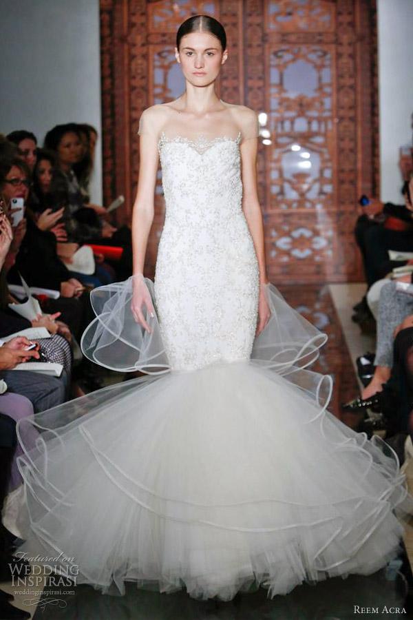 reem acra wedding dresses fall 2013 mermaid gown illusion cap sleeves