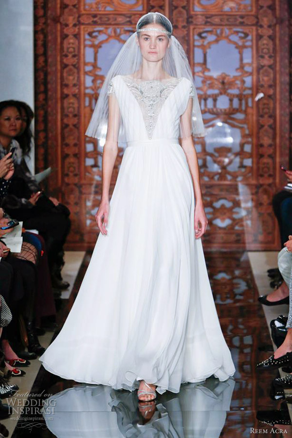 reem acra wedding dresses fall 2013 short sleeve