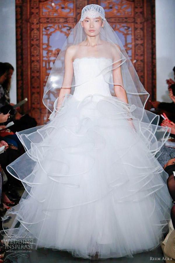 reem acra wedding dresses fall 2013 strapless ball gown ruffle skirt