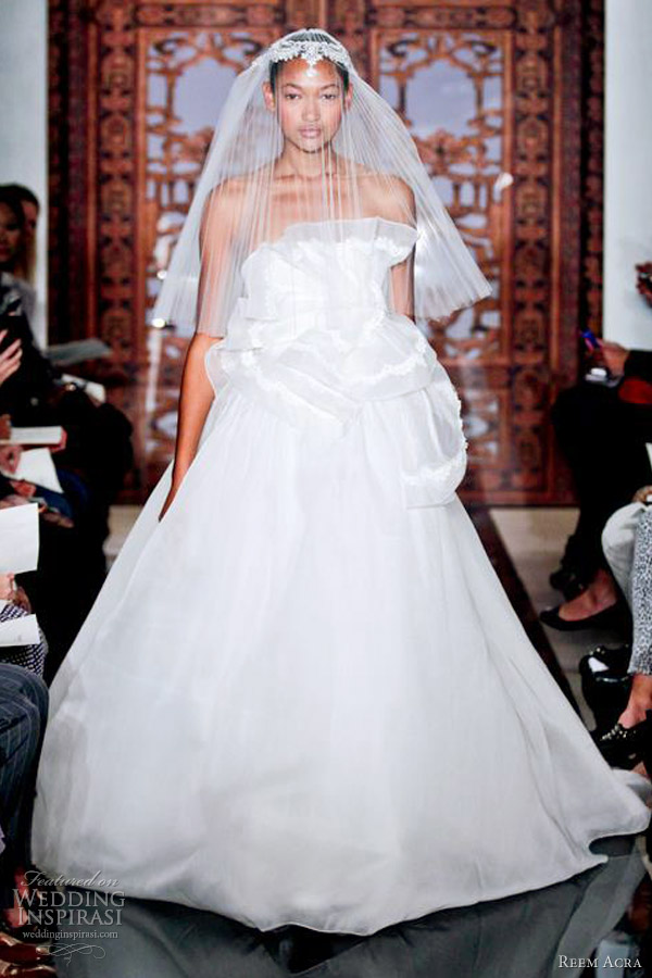 reem acra wedding dresses fall 2013 strapless ball gown