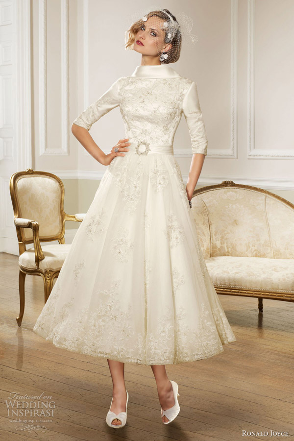 Ronald joyce 2013 wedding dresses wedding inspirasi page 2 for Wedding dresses tea length with sleeves