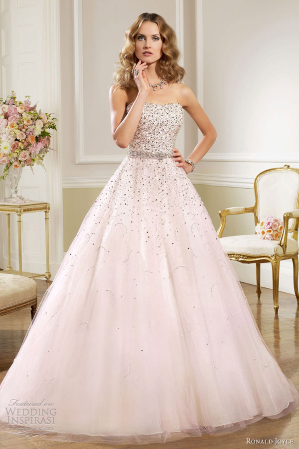 ronald joyce bridal 2013 strapless ball gown pink pale lilac wedding dress