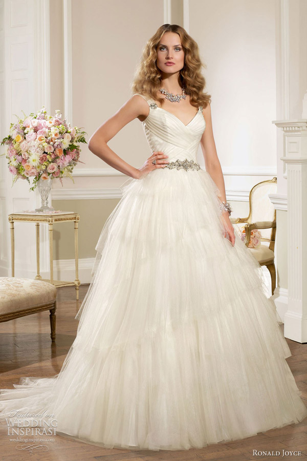 ronald joyce bridal 2013 strapless satin tulle ball gown 67029