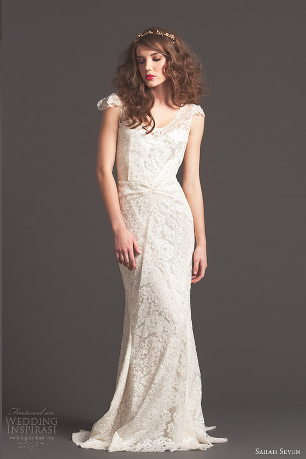 sarah seven bridal fall 2013 golden lace cap sleeve wedding dress