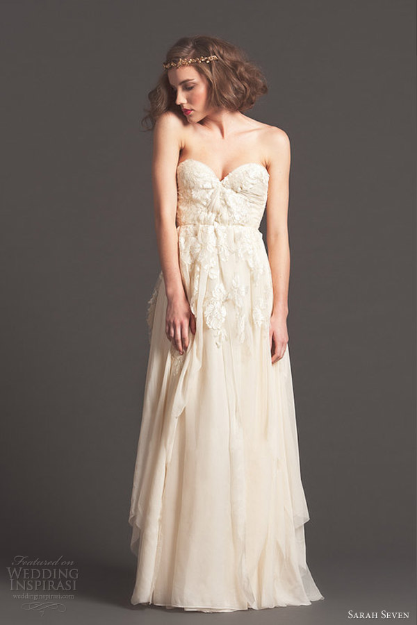 sarah seven fall 2013 bridal cascade strapless wedding dress