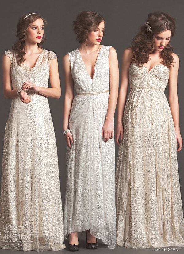 sarah seven wedding dresses fall 2013 bridal shimmering enlightened golden lights gowns