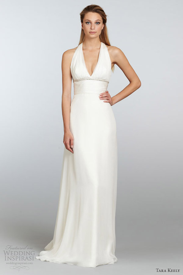 tara keely spring 2013 bridal ivory chiffon empire waist sheath gown ruched v neck beaded bodice