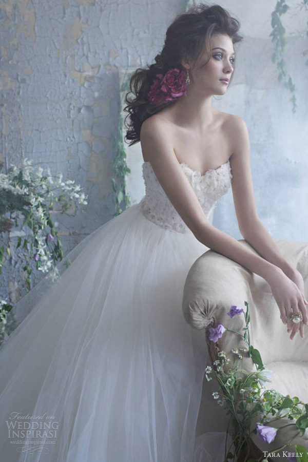 tara keely spring 2013 bridal tulle ball gown wedding dress beaded floral sweetheart neckline
