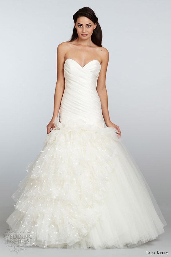tara keely wedding dress spring 2013 mikado organza fit flare gown pleated elongated sweetheart neck petals