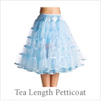 Bridal Petticoat Crinoline Tea Length Blue Color