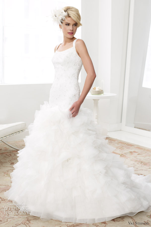 val stefani bridal spring 2013 sleeveless fit flare silky organza wedding dress d8030
