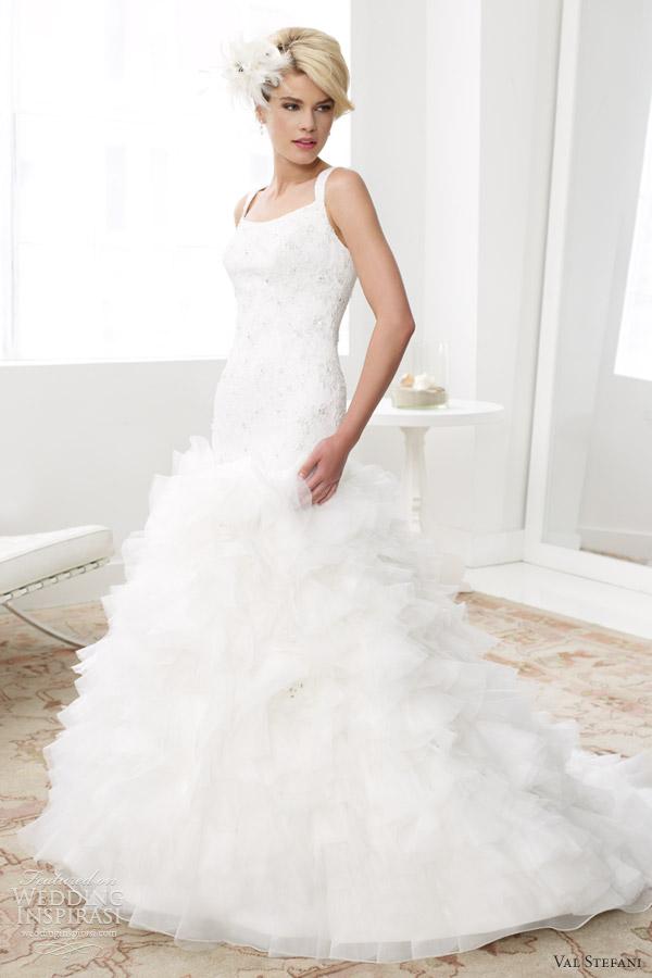 val stefani bridal spring 2013 sleeveless fit flare silky organza wedding dress d8030