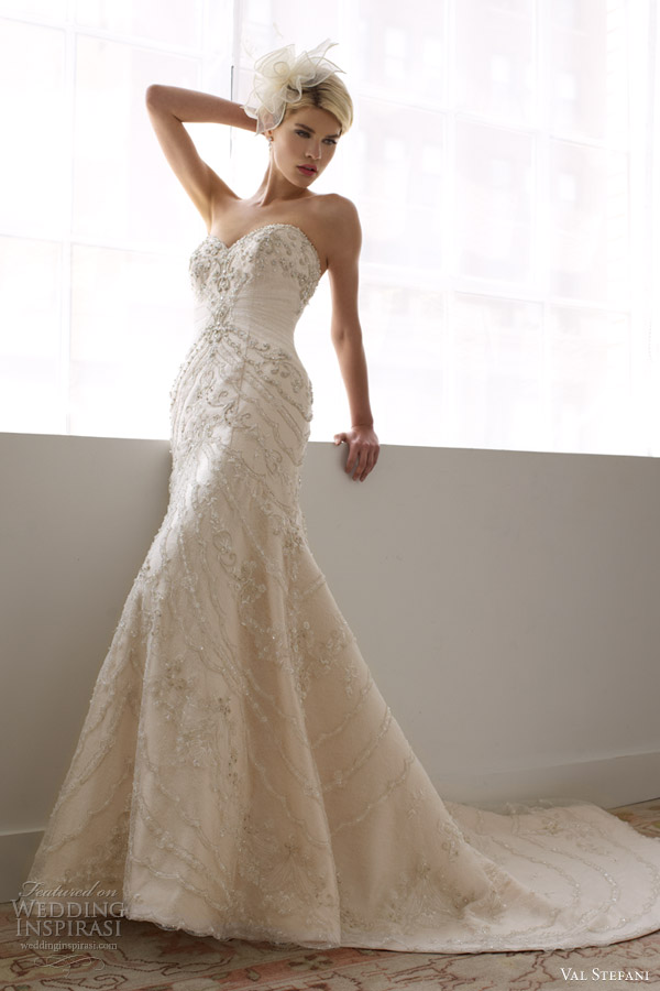 val stefani spring 2013 strapless re embroidered lace mermaid gown d8038
