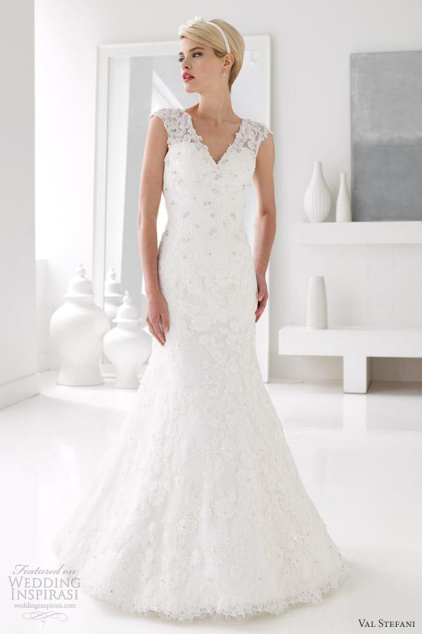 val stefani wedding dresses spring 2013 illusion sleeves mermaid gown d8032
