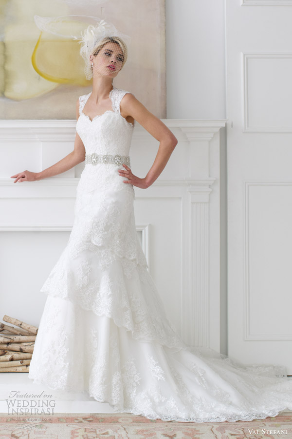 val stefani wedding dresses spring 2013 lace trumpet gown cap sleeves d8037