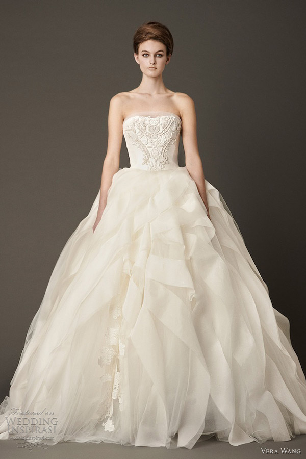 vera wang fall 2013 bridal strapless ball gown wedding dress