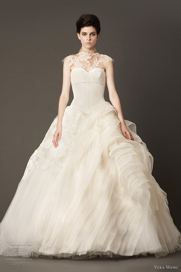 vera wang wedding dress fall 2013 ball gown illusion neckline