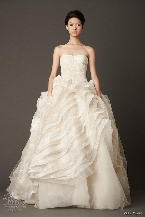 vera wang wedding dresses fall 2013 bridal strapless ball gown flange skirt corded bodice