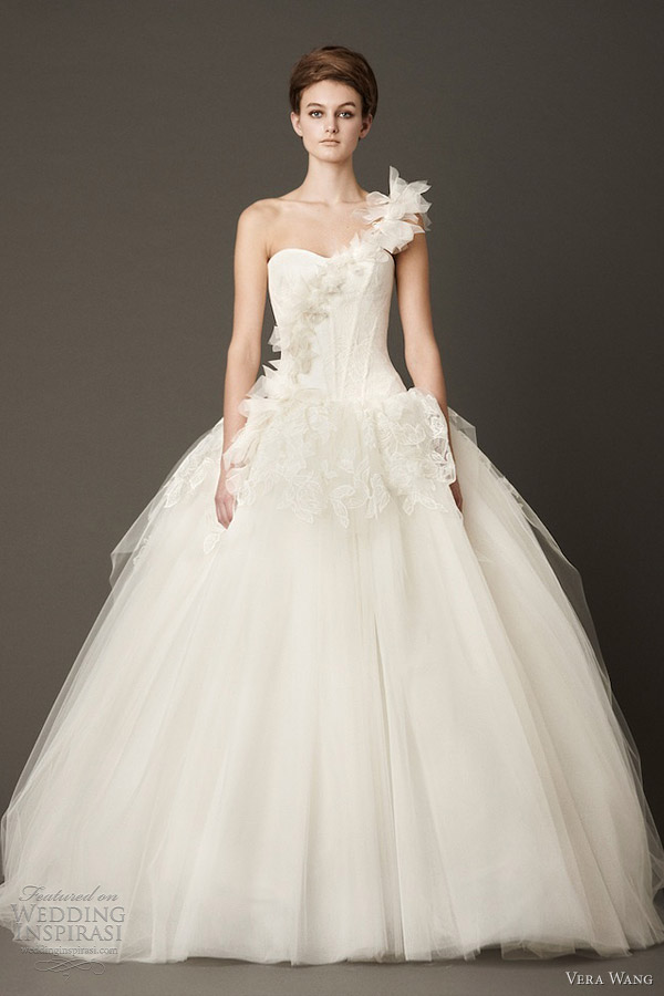 vera wang wedding dresses fall 2013 one shoulder drop waist lingerie inspired ball gown