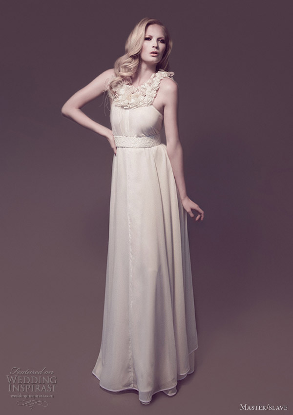 weddings by master slave bridal collection imogen draped gown decorated yoke
