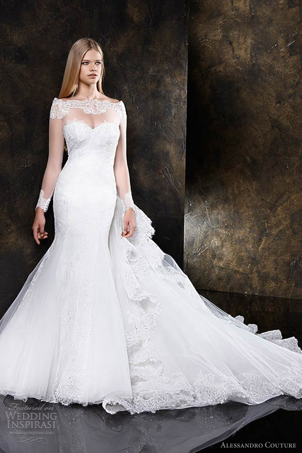 Alessandro couture wedding dresses butterfly bridal for Wedding dress with illusion sleeves