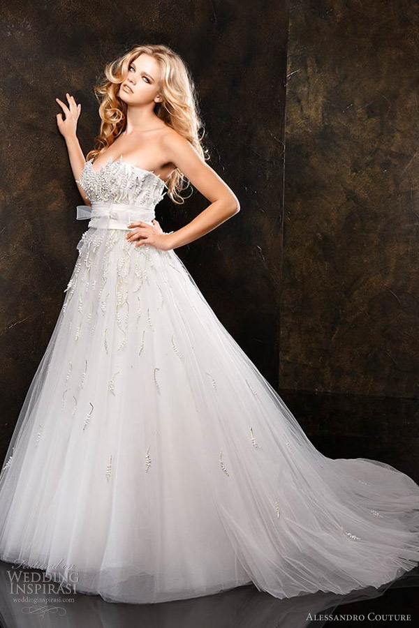 alessandro couture 2013 butterfly strapless wedding dress