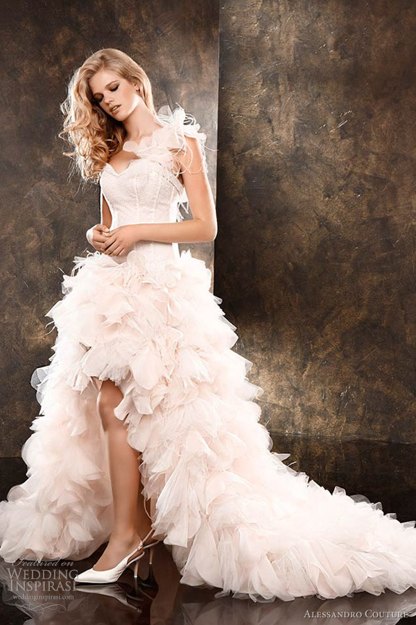 alessandro couture 2013 pink wedding dress high low