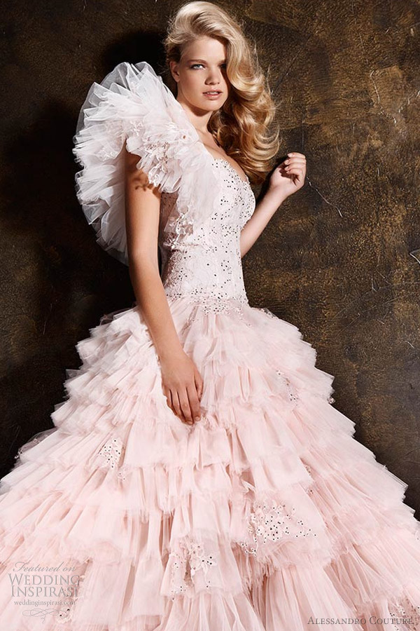 alessandro couture 2013 pink wedding dress