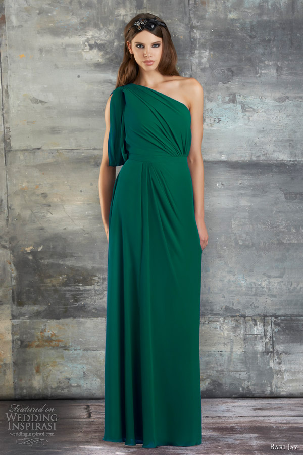 bari jay bridesmaid dress spring 2013 one shoulder gown draped sleeve style 670