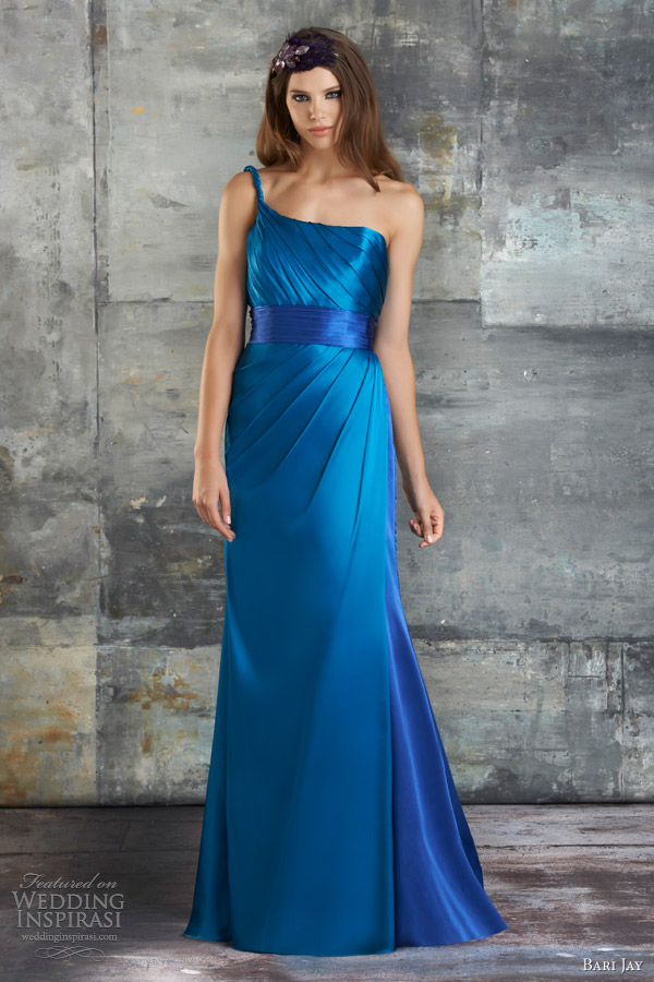 bari jay bridesmaid dress spring 2013 one shoulder strap gown pleated bust style 673