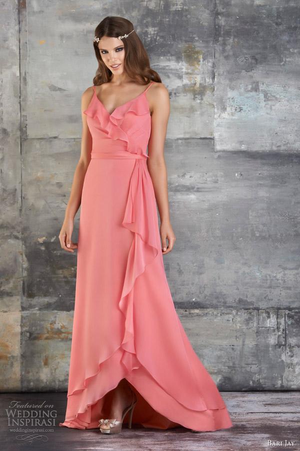 bari jay bridesmaids dresses spring 2013 ruffle chiffon gown spaghetti straps style 667
