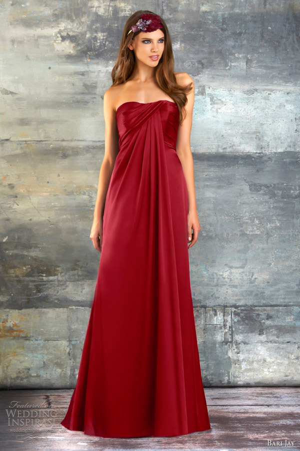 bari jay spring 2013 bridesmaids collection strapless gown draped style 678