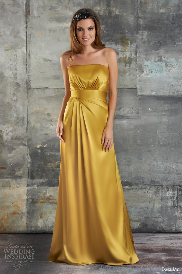 bari jay spring 2013 bridesmaids dresss 657 strapless charmeuse gown mustard